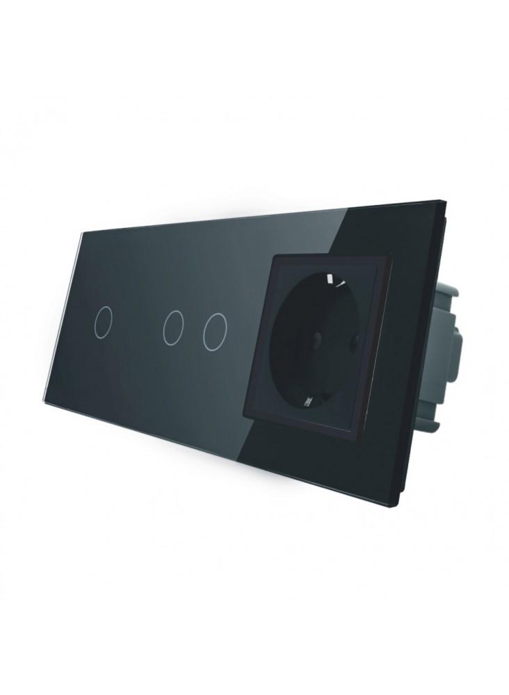 Gniazdo + włącznik pojedynczy + podwójny LIVOLO | VL-C7012G | Czarny