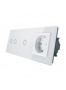 Gniazdo + włącznik podwójny + pojedynczy LIVOLO | VL-C7021G | Biały