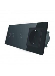 Gniazdo + włącznik podwójny + pojedynczy LIVOLO | VL-C7021G | Czarny