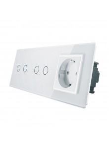 Gniazdo + 2x włącznik podwójny LIVOLO | VL-C7022G | Biały