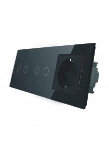 Gniazdo + 2x włącznik podwójny LIVOLO | VL-C7022G | Czarny