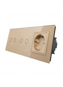 Gniazdo + 2x włącznik podwójny LIVOLO | VL-C7022G | Szampański