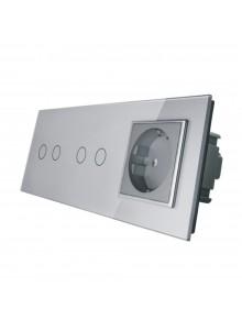 Gniazdo + 2x włącznik podwójny LIVOLO | VL-C7022G | Szary