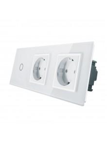 Gniazdo podwójne + włącznik pojedynczy LIVOLO | VL-C701GG | Biały