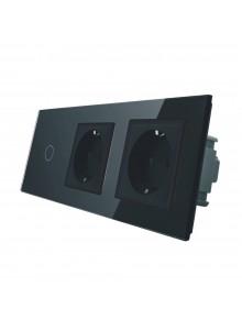 Gniazdo podwójne + włącznik pojedynczy LIVOLO | VL-C701GG | Czarny