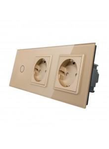 Gniazdo podwójne + włącznik pojedynczy LIVOLO | VL-C701GG | Szampański