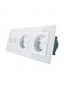 Gniazdo podwójne + włącznik podwójny LIVOLO | VL-C702GG | Biały
