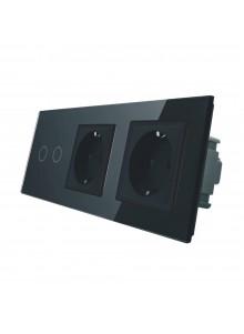 Gniazdo podwójne + włącznik podwójny LIVOLO | VL-C702GG | Czarny