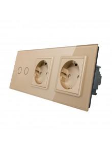 Gniazdo podwójne + włącznik podwójny LIVOLO | VL-C702GG | Szampański