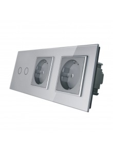 Gniazdo podwójne + włącznik podwójny LIVOLO | VL-C702GG | Szary
