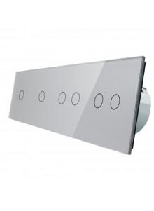 Włącznik dotykowy sześciokrotny (1+1+2+2) LIVOLO VL-C701122 | Szary