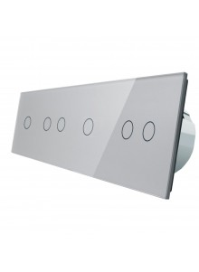 Włącznik dotykowy sześciokrotny (1+2+1+2) LIVOLO VL-C701212 | Szary