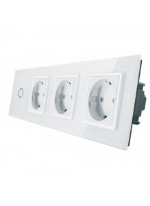 Gniazdo potrójne + włącznik pojedynczy LIVOLO | VL-C701GGG | Biały
