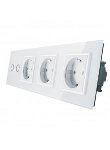 Gniazdo potrójne + włącznik podwójny LIVOLO | VL-C702GGG | Biały