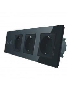 Gniazdo potrójne + włącznik podwójny LIVOLO | VL-C702GGG | Czarny