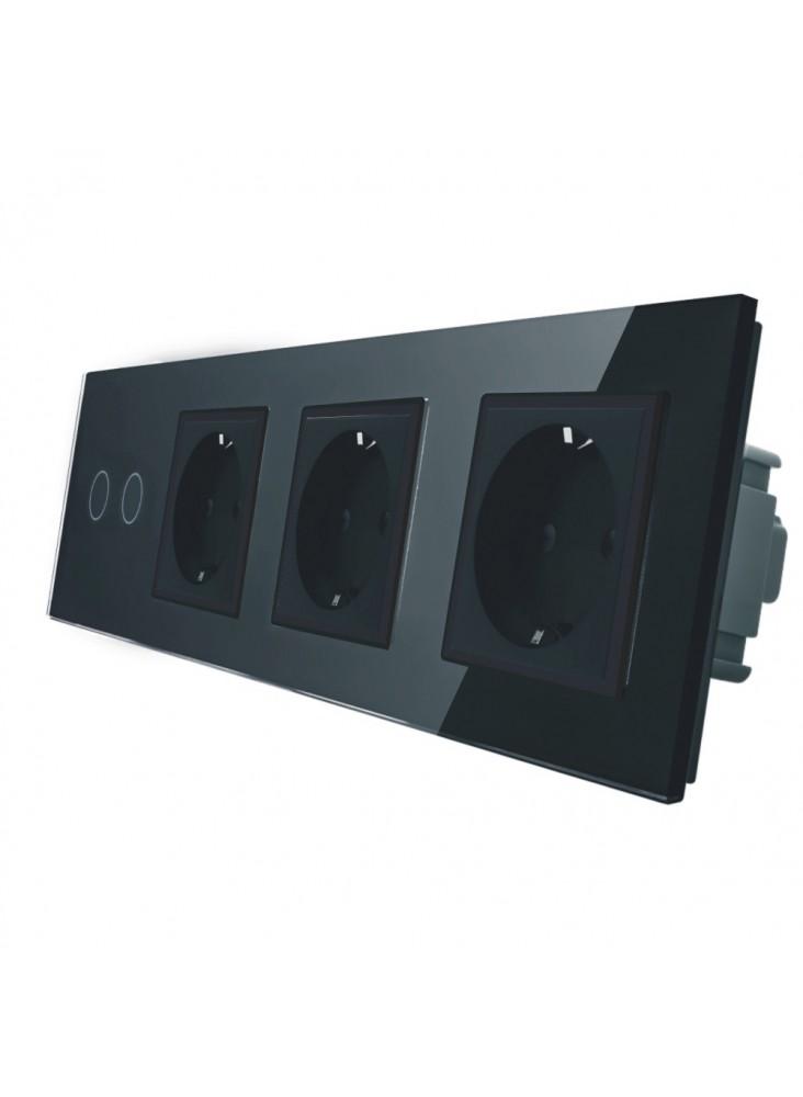 Gniazdo potrójne + włącznik podwójny LIVOLO   VL-C702GGG   Czarny