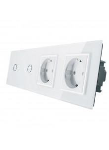 Gniazdo podwójne + 2x włącznik pojedynczy LIVOLO | VL-C7011GG | Biały