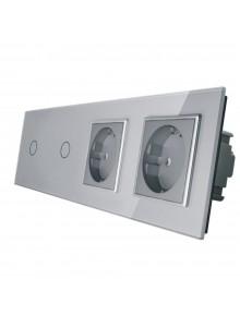 Gniazdo podwójne + 2x włącznik pojedynczy LIVOLO | VL-C7011GG | Szary
