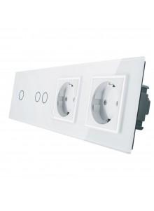 Gniazdo podwójne + włącznik pojedynczy + podwójny LIVOLO | VL-C7012GG | Biały