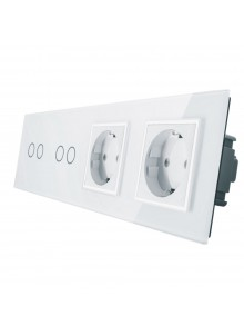Gniazdo podwójne + 2x włącznik podwójny LIVOLO | VL-C7022GG | Biały