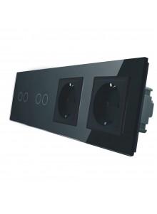 Gniazdo podwójne + 2x włącznik podwójny LIVOLO | VL-C7022GG | Czarny