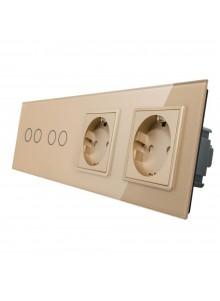 Gniazdo podwójne + 2x włącznik podwójny LIVOLO | VL-C7022GG | Szampański
