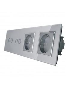 Gniazdo podwójne + 2x włącznik podwójny LIVOLO | VL-C7022GG | Szary