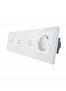Gniazdo pojedyncze + 3x włącznik pojedynczy LIVOLO | VL-C70111G | Biały