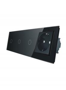 Gniazdo pojedyncze + 3x włącznik pojedynczy LIVOLO | VL-C70111G | Czarny