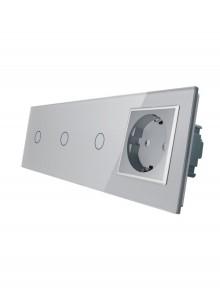 Gniazdo pojedyncze + 3x włącznik pojedynczy LIVOLO | VL-C70111G | Szary