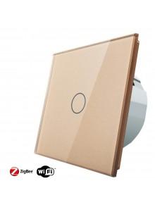 Włącznik dotykowy pojedynczy schodowo-krzyżowy LIVOLO ZigBEE WiFi | Szampański
