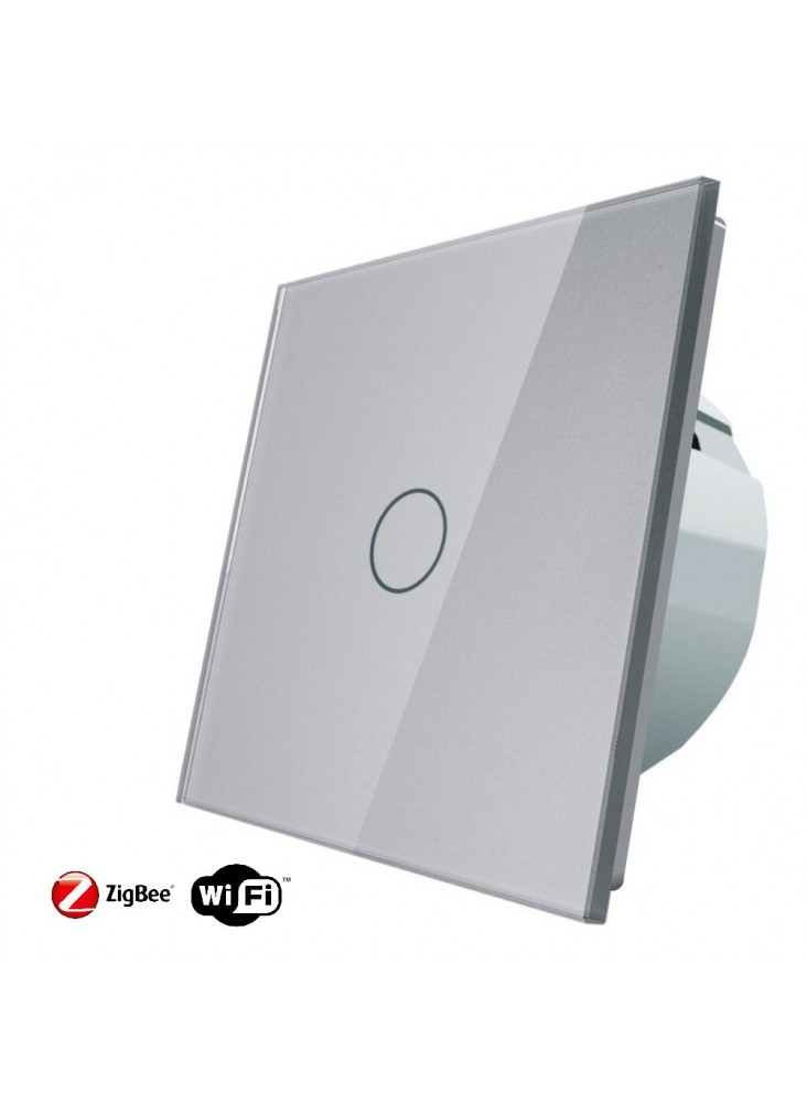Włącznik dotykowy pojedynczy schodowo-krzyżowy LIVOLO ZigBEE WiFi | Szary
