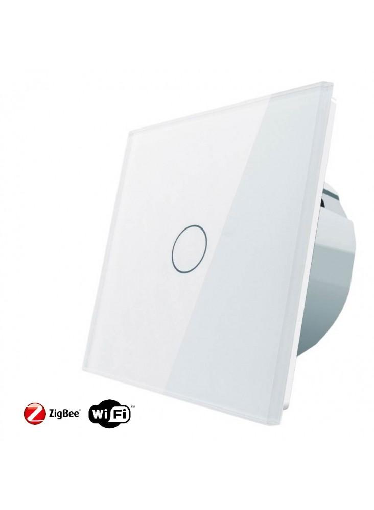 Włącznik dotykowy pojedynczy schodowo-krzyżowy LIVOLO ZigBEE WiFi | Biały