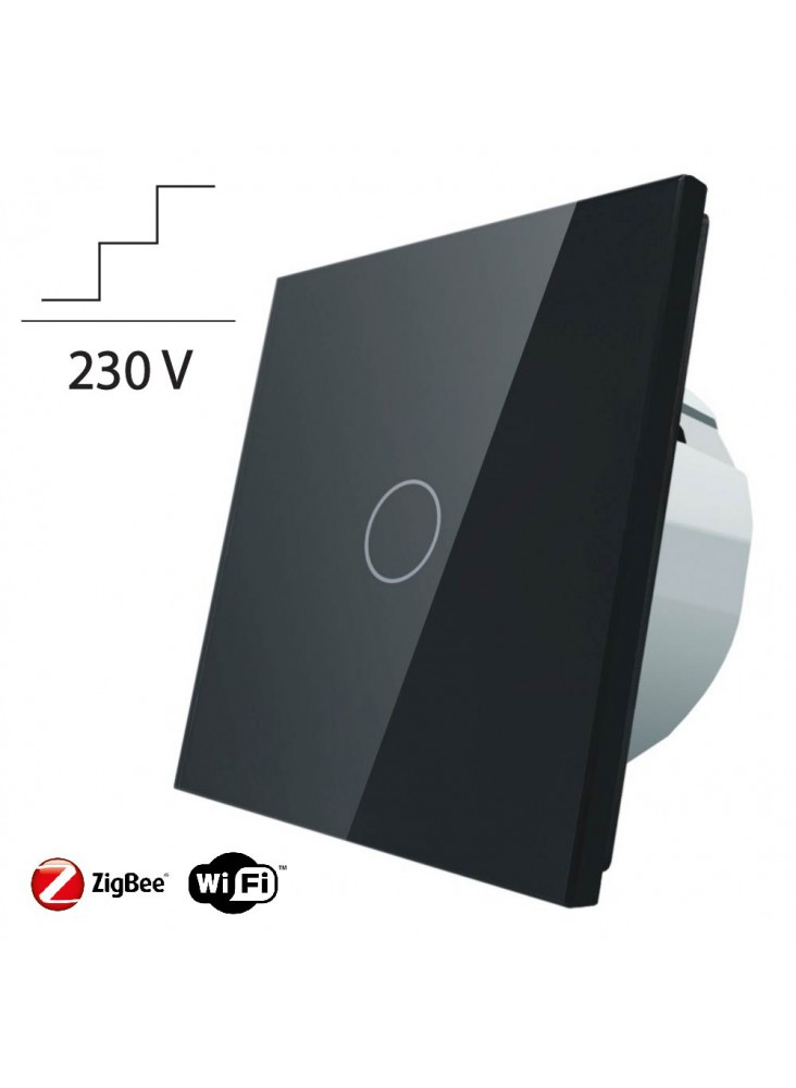 Włącznik dotykowy pojedynczy schodowo-krzyżowy LIVOLO ZigBEE WiFi | Czarny