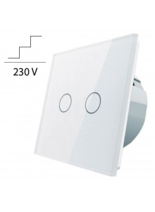 Włącznik dotykowy podwójny schodowo-krzyżowy LIVOLO VL-C702S | Biały