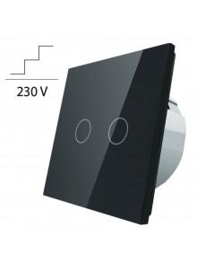 Włącznik dotykowy podwójny schodowo-krzyżowy LIVOLO VL-C702S | Czarny
