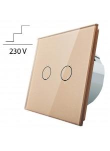 Włącznik dotykowy podwójny schodowo-krzyżowy LIVOLO VL-C702S | Szampański