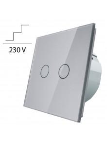 Włącznik dotykowy podwójny schodowo-krzyżowy LIVOLO VL-C702S | Szary
