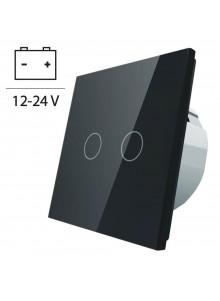Włącznik dotykowy podwójny LIVOLO VL-C702C 12V DC | Czarny