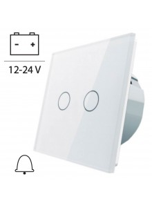Włącznik dotykowy podwójny impulsowy LIVOLO VL-C702CH 12V DC | Biały
