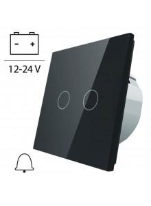 Włącznik dotykowy podwójny impulsowy LIVOLO VL-C702CH 12V DC | Czarny