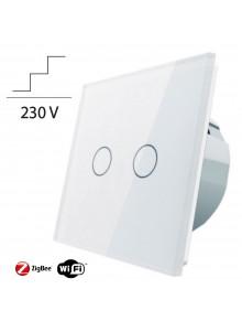 Włącznik dotykowy podwójny schodowo-krzyżowy LIVOLO ZigBEE WiFi | Biały
