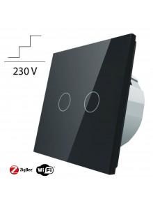 Włącznik dotykowy podwójny schodowo-krzyżowy LIVOLO ZigBEE WiFi | Czarny