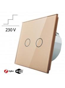 Włącznik dotykowy podwójny schodowo-krzyżowy LIVOLO ZigBEE WiFi | Szampański