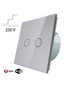 Włącznik dotykowy podwójny schodowo-krzyżowy LIVOLO ZigBEE WiFi | Szary