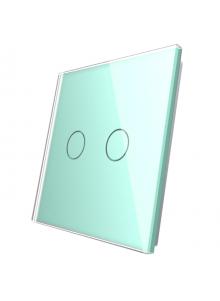 Podwójny szklany panel LIVOLO 702 Zielony