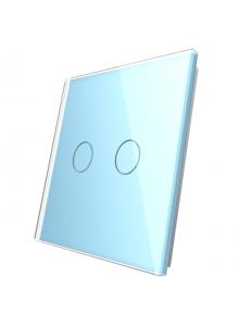 Podwójny szklany panel LIVOLO 702 Niebieski