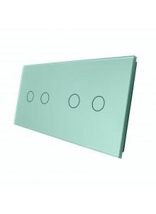 Podwójny panel szklany LIVOLO 7022 Zielony