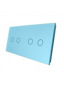 Podwójny panel szklany LIVOLO 7022 Niebieski
