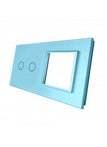 Podwójny panel szklany LIVOLO 702G Niebieski